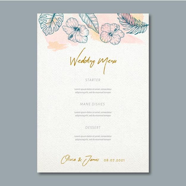 Menu di nozze con ornamenti floreali Vettore gratuito