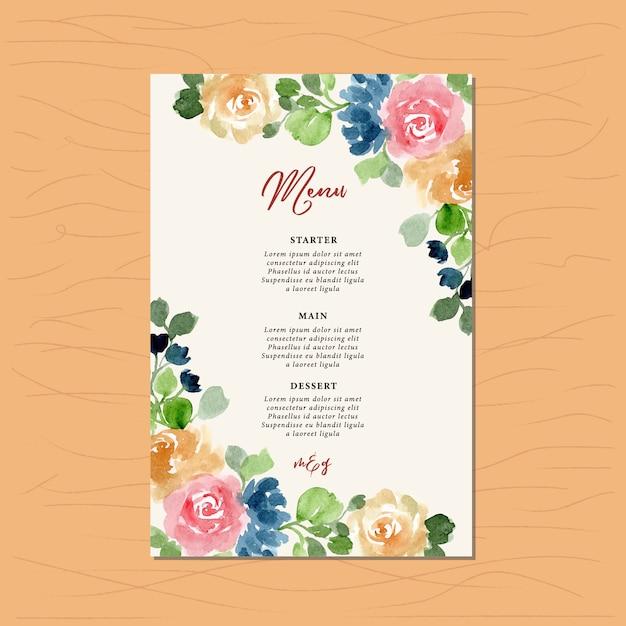 Wedding menu with floral watercolor frame Vector | Premium Download
