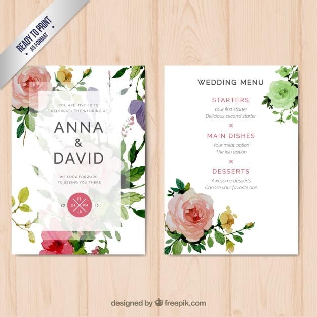 Wedding menu with watercolor flowers Free Vector