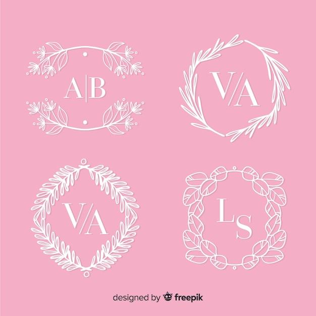 Wedding monogram collection template Free Vector