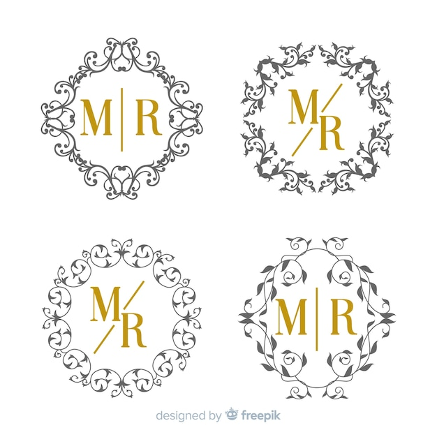 Wedding monogram collection template Free Vector