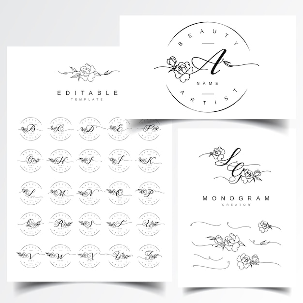 Wedding monogram and letter logo designs Premium Vector