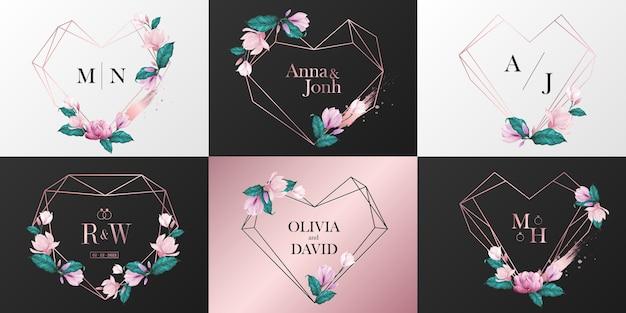 웨딩 모노그램 로고 컬렉션. 수채화 스타일에서 꽃으로 장식 된 로즈 골드 하트 프레임 무료 벡터
