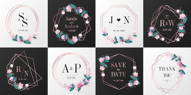 웨딩 모노그램 로고 컬렉션. 초대 카드 디자인에 대 한 로즈 골드 수채화 꽃 프레임. 무료 벡터