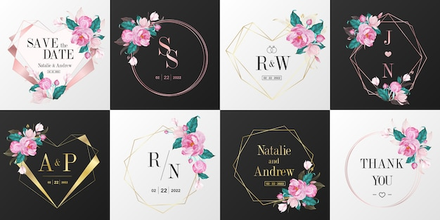Свадебный монограмма логотип коллекции. акварель цветочная рамка для дизайна приглашения карты. Бесплатные векторы
