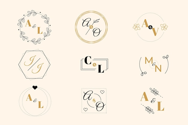 Коллекция свадебных монограмм Бесплатные векторы