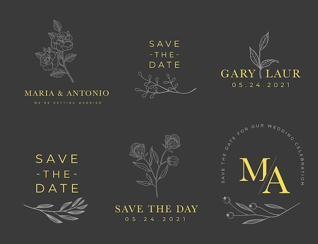 Collezione di logo monogramma di nozze Vettore gratuito