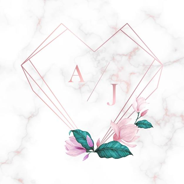 結婚式のモノグラムのロゴデザインテンプレートです。招待カードデザインの水彩画の花のフレーム。 無料ベクター