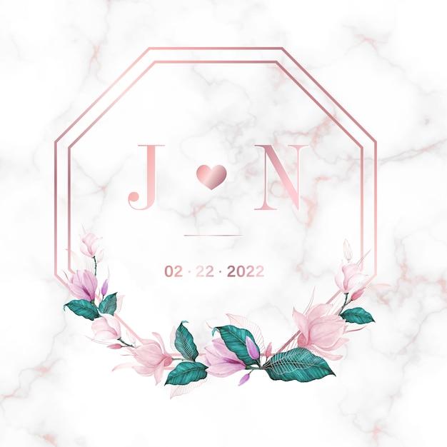 웨딩 모노그램 로고 디자인 서식 파일입니다. 초대 카드 디자인에 대 한 수채화 꽃 프레임입니다. 무료 벡터