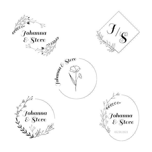 Свадебный логотип с монограммой Premium векторы