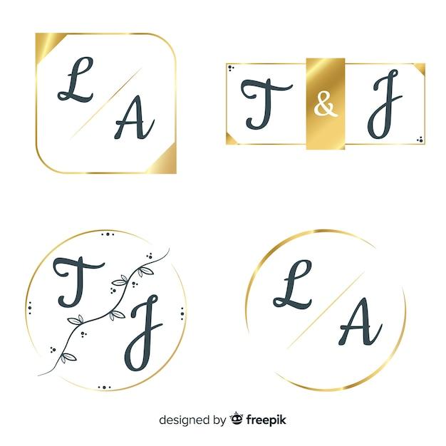 Wedding monogram logo template collection Free Vector