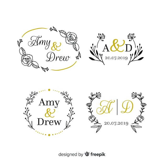 Wedding monogram logo templates collection Free Vector