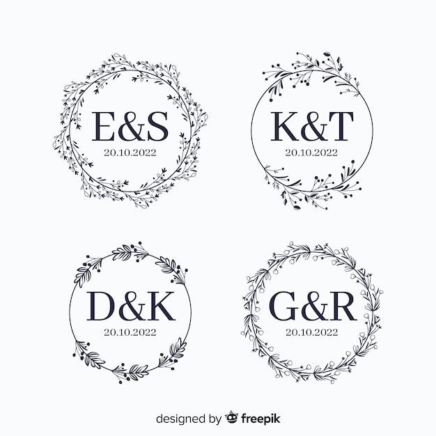 Wedding monogram logo templates collection Free Vector