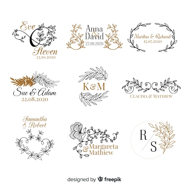 Free Vector Wedding Monogram Logo Templates Collection