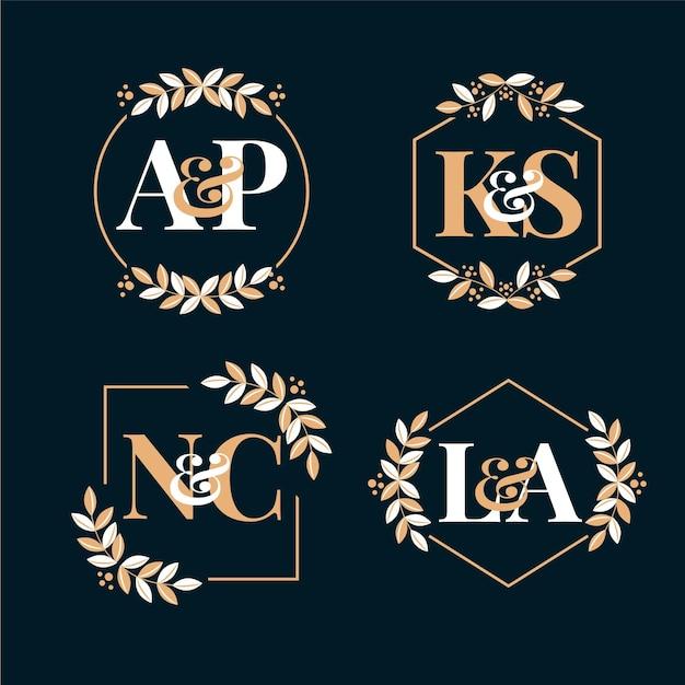 Свадебные монограммы каллиграфические логотипы Бесплатные векторы