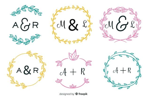 Wedding monogram logos template collection Free Vector