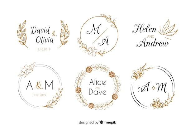 Wedding monogram logos template collection Free Vector