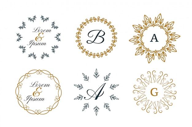 Monogram pernikahan atau logo dekoratif dalam gaya mandala mengatur Vektor Gratis