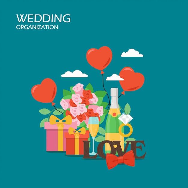 結婚式組織のフラットスタイルの設計図 Premiumベクター
