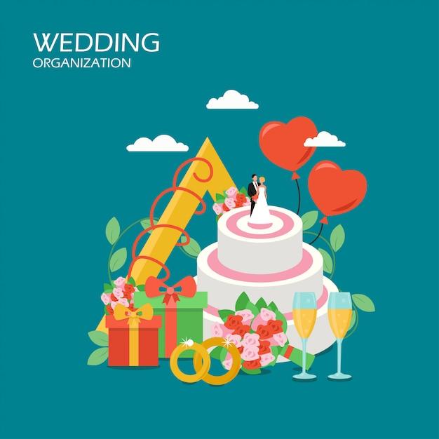 結婚式組織ベクトルフラットスタイルイラスト Premiumベクター