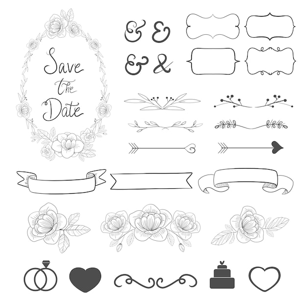 Wedding ornament set collection for invitation card decoration. Premium Vector