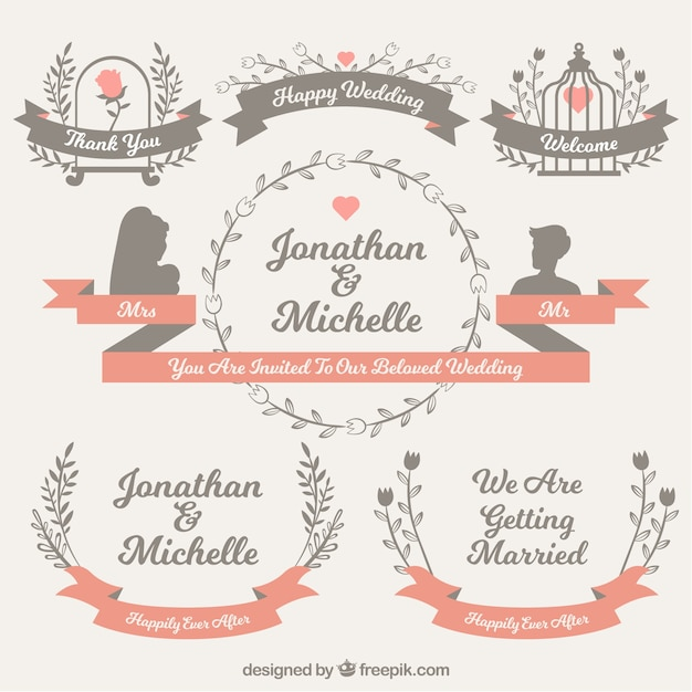 Wedding ornaments collection in flat\ design