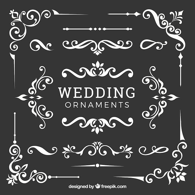 Wedding ornaments collection in flat design Free Vector