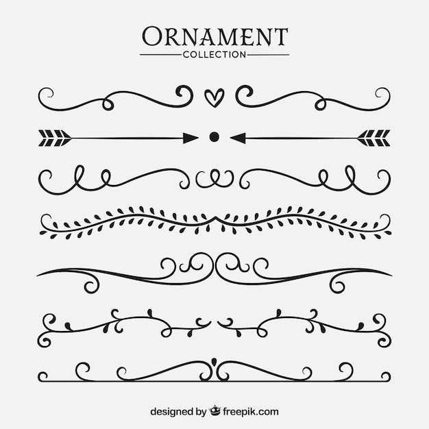 Wedding ornaments collection to decorate Free Vector