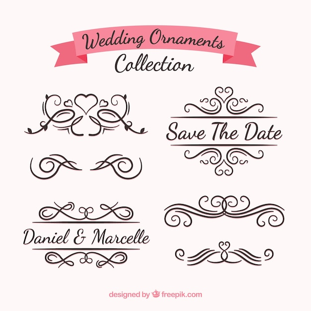 Wedding ornaments collection Free Vector