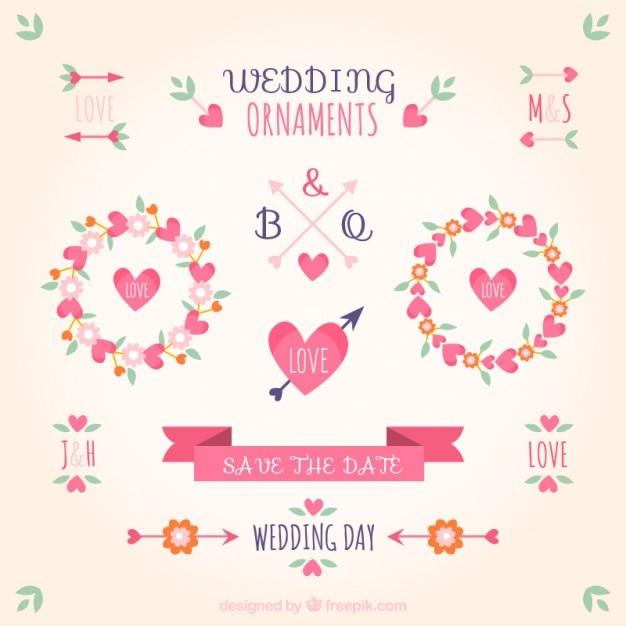 ピンクの色の結婚式の装飾品 無料ベクター