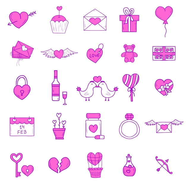 Wedding outline icons set Premium Vector