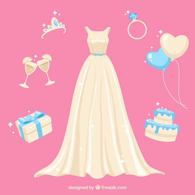 Wedding pack with different accessories Free Vector