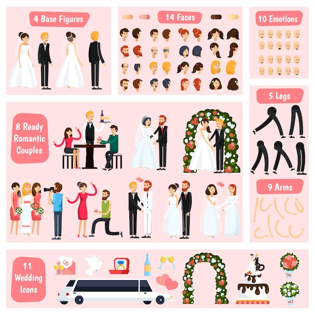 Wedding people orthogonal character constructor Free Vector
