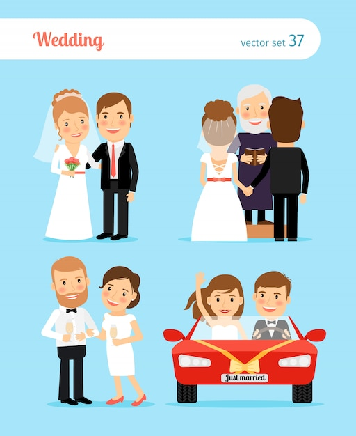 Wedding people Premium Vector