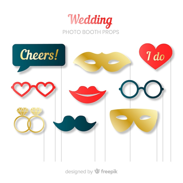 Wedding photo booth prop collection Free Vector