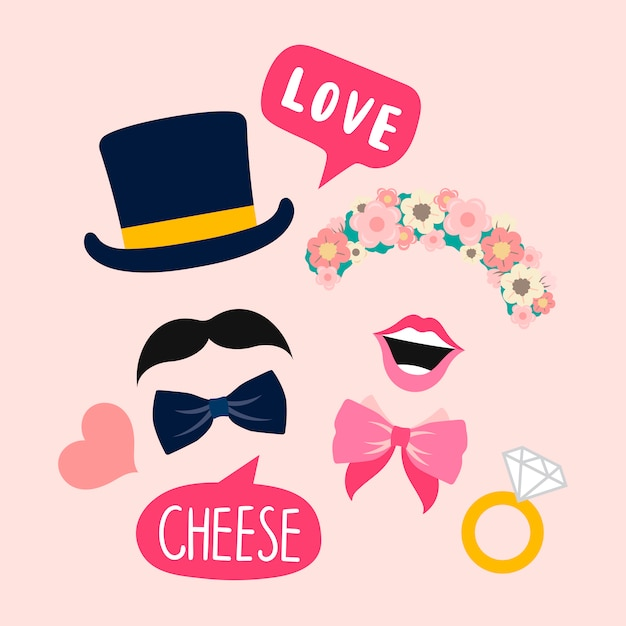 Wedding photo booth props for woman and man vector Free Vector