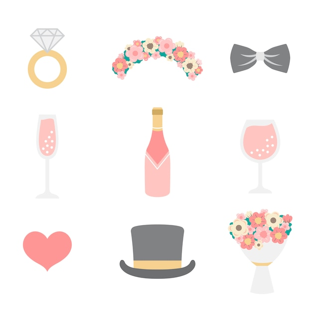 Wedding photo booth props Free Vector