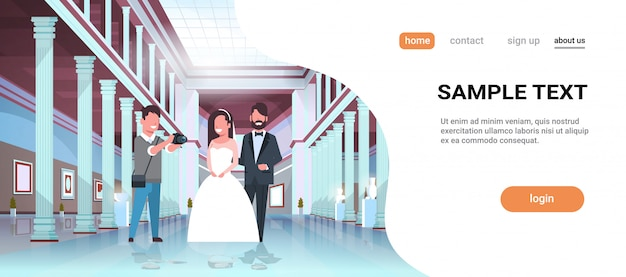 Wedding photographer shooting on camera newlyweds man woman standing together romantic couple bride