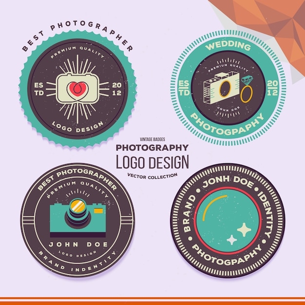 Wedding photography badges and labels Premium Vector