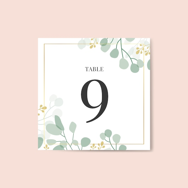 Wedding place card Free Vector