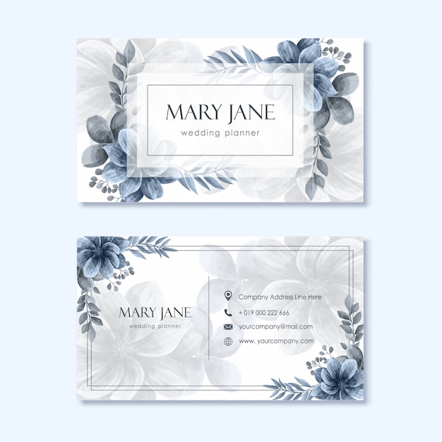 wedding planner business card template with flower