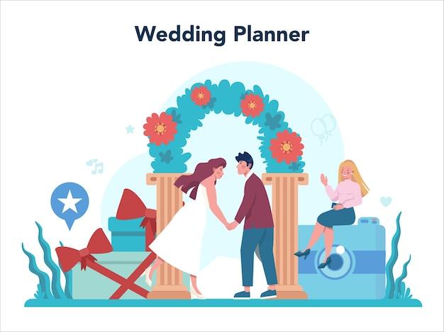ウェディングプランナーのコンセプト。結婚式のイベントを計画するプロの主催者。ケータリングおよび娯楽組織。花嫁と婚約者のマリアージュプランナー。 Premiumベクター