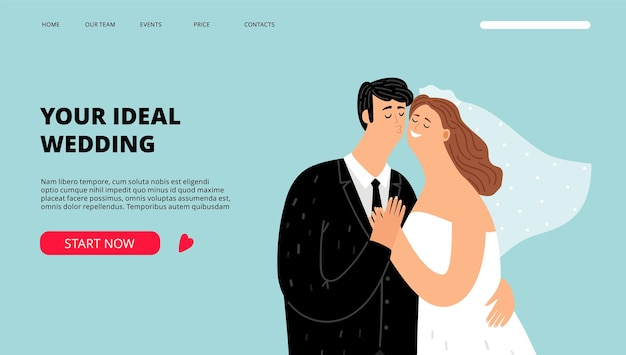 Wedding planner landing page. just married characters banner. organization of celebrations and holidays web template Premium Vector
