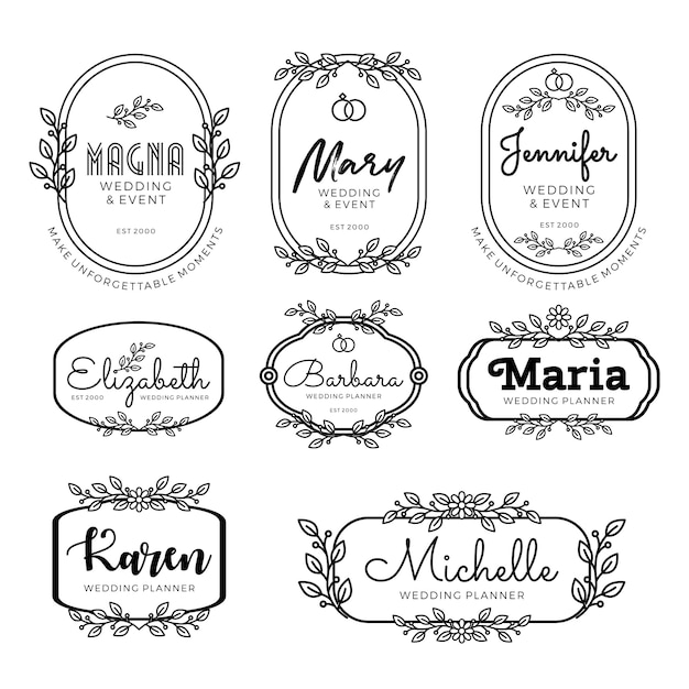 Feminine Logo Collections Template: Wedding Planner Logo Templates In Feminine Style