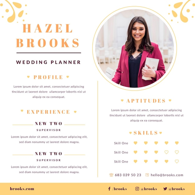 Wedding planner resume template with photo Free Vector