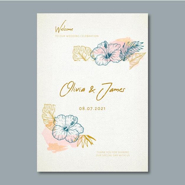 꽃 장식으로 웨딩 포스터 프리미엄 벡터