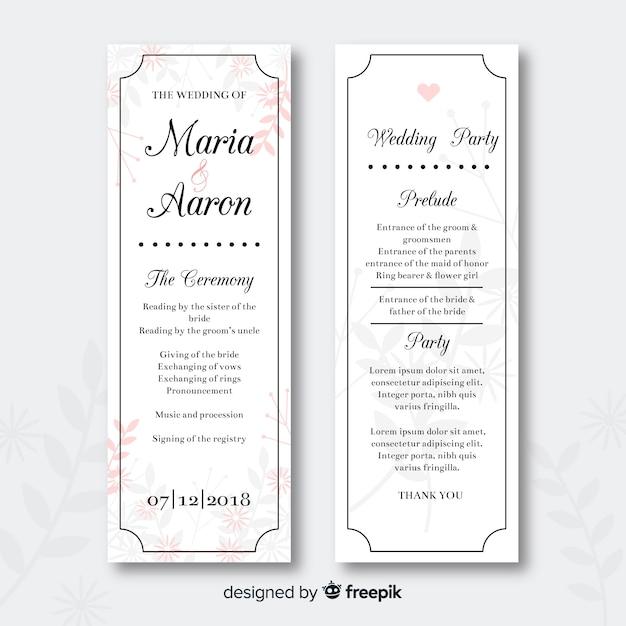 Free Vector Wedding Program