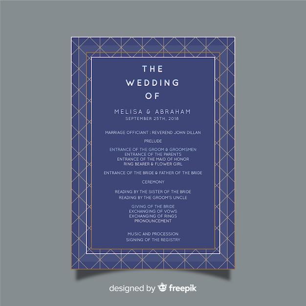 wedding programme vector free download
