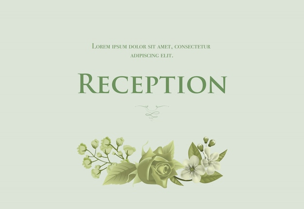 Wedding reception card template with blossom,\ rose and lily of valley