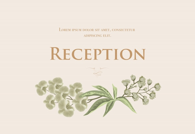 Wedding reception card template with iris and\ lily of valley on beige background.